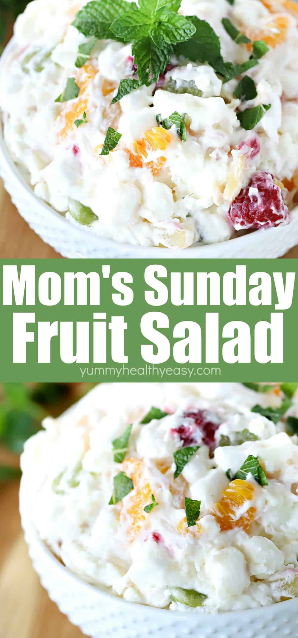 This recipe is a family favorite my mom prepared often. Mostly to go with our big Sunday dinners {hence the name!} but you can make it any day of the week! It's creamy and versatile with a kick of citrus in it. It's one of my all time favorites to make for my family. You can add any fruit or mix-ins that your family likes. It's a yummy and simple side dish that compliments any meal! #fruitsalad #fruit #recipe #yummy #healthy #easy #yummyhealthyeasy #homemade via @jennikolaus