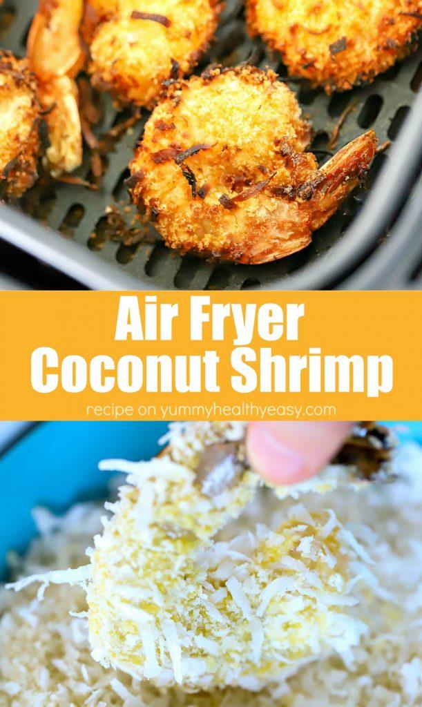 Colagem de receitas de camarão com coco e fritadeira de ar