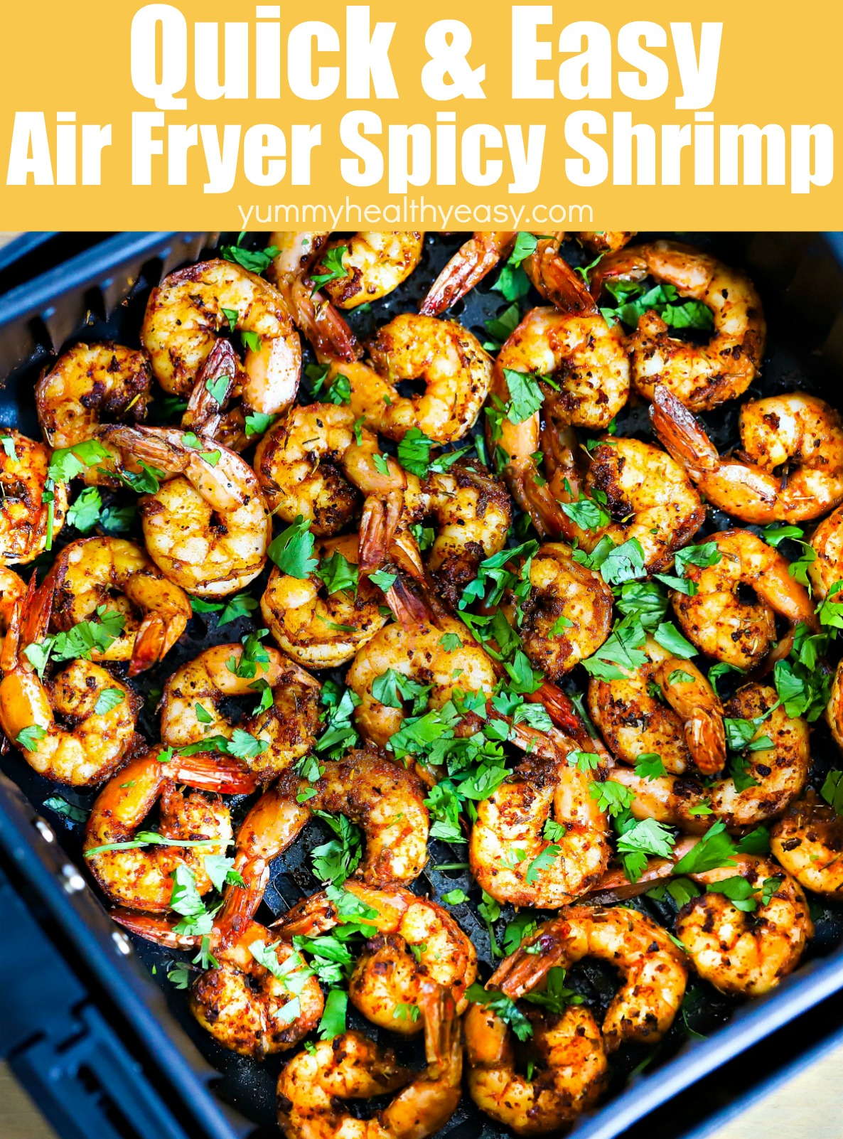 This Air Fryer Spicy Shrimp Recipe is so easy to make and only takes a few minutes in the air fryer! Toss shrimp in an easy spice mix and you have yourself a delicious appetizer, snack or dinner (great in tacos, burritos or over rice!) #shrimp #shrimprecipe #recipe #dinner #dinnerrecipe #healthyfood #airfryer #airfryerdinner via @jennikolaus