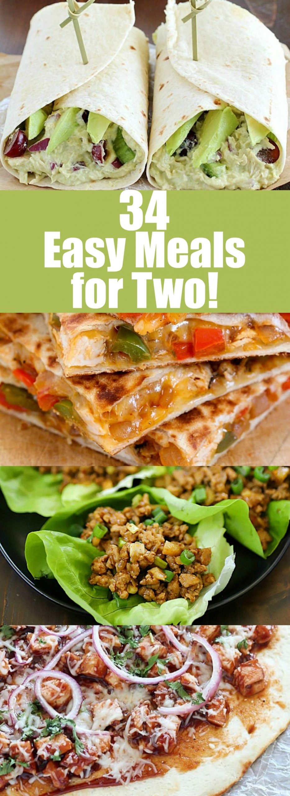 Need a smaller meal to cook at home? Here are 34+ easy meals for two that are sure to help you out in the kitchen! Healthy meals for two are a great way to show your love to your loved one and share a great meal with the person you want to be with. I decided to do a roundup post on recipes that gear toward recipes that are for people that only need a few servings and make some really great leftovers. :) #roundup #leftovers #dinnersfortwo #easydinner #dinner #healthydinner via @jennikolaus