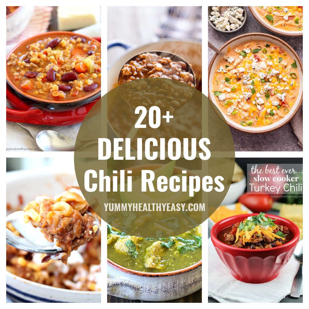 It's that time of year! Time for a giant bowl full of chili! Here are over 20 Chili Recipes that you NEED to make this season. Check out this 20+ Chili Round Up for some great ideas on what chili recipes you need to try! #chili #roundup #dinner #dinnerideas #recipes via @jennikolaus