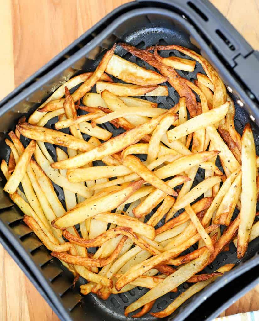Air Fryer overhead shot of French fries