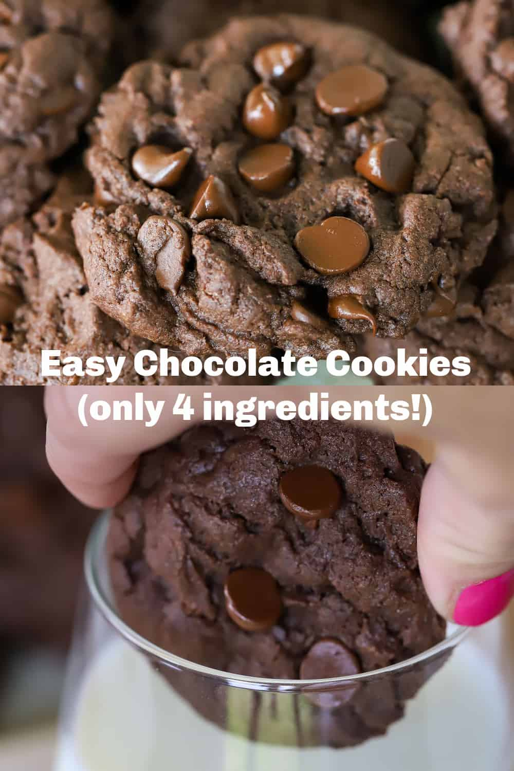 Need a chocolate fix but don't want to measure out ingredients? Try these 4 ingredient Easy Chocolate Cookies. So quick to make, even my kids can make them! And they are soooo good! via @jennikolaus